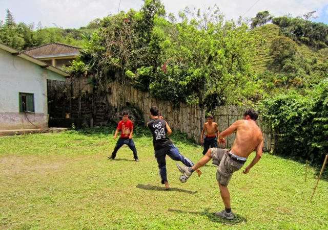 Playing football at colombia
